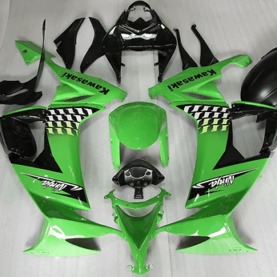 2008 - 2010 zx10r Green Black white flag