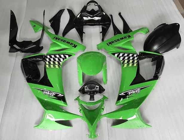 2008 - 2010 zx10r Green Black white flag