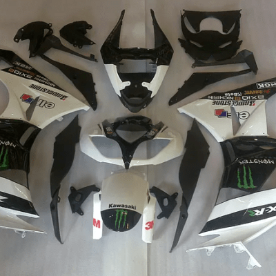 2009-12 kawasaki ZX-6r White Black Green Gloss
