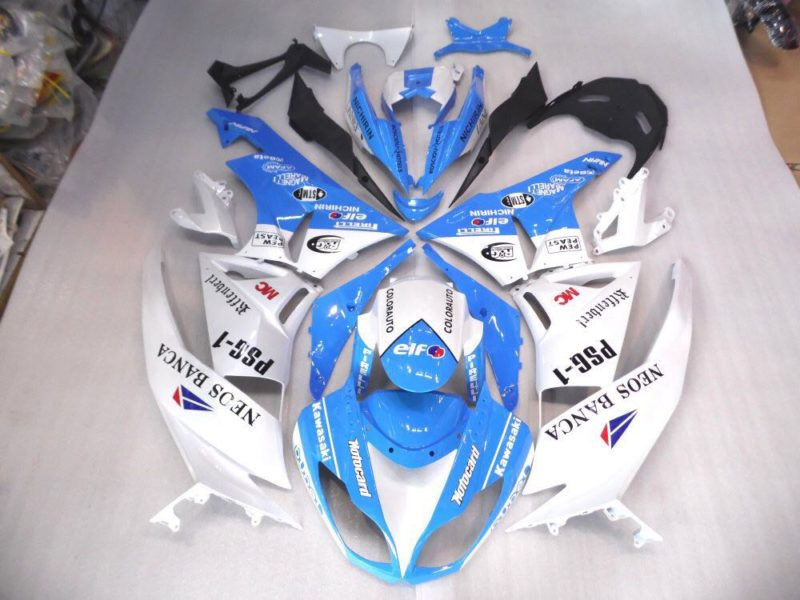 2009-2012 zx6r blue white stickers gloss