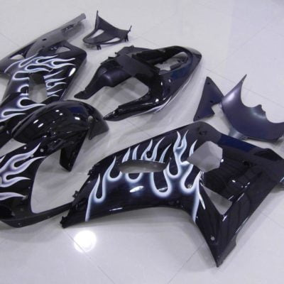 GSX R750 600 2001 2003 BLACK WHITE FLAME