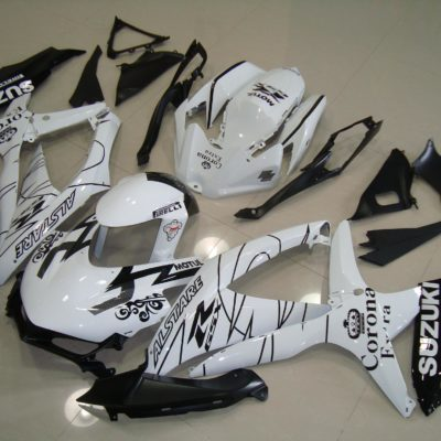 GSX R750 600 2008 2010 WHITE CORONA RACE