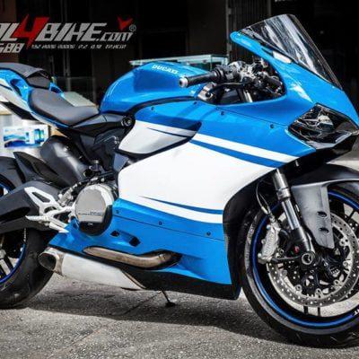 Ducati 899 1199 1299 panigale gloss blue white stripe