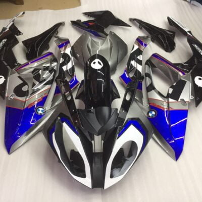 bmw s1000rr blue black gloss silver fairing