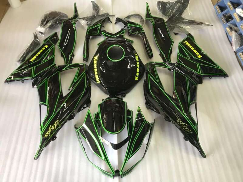 2013-2018 zx6r black green outlined
